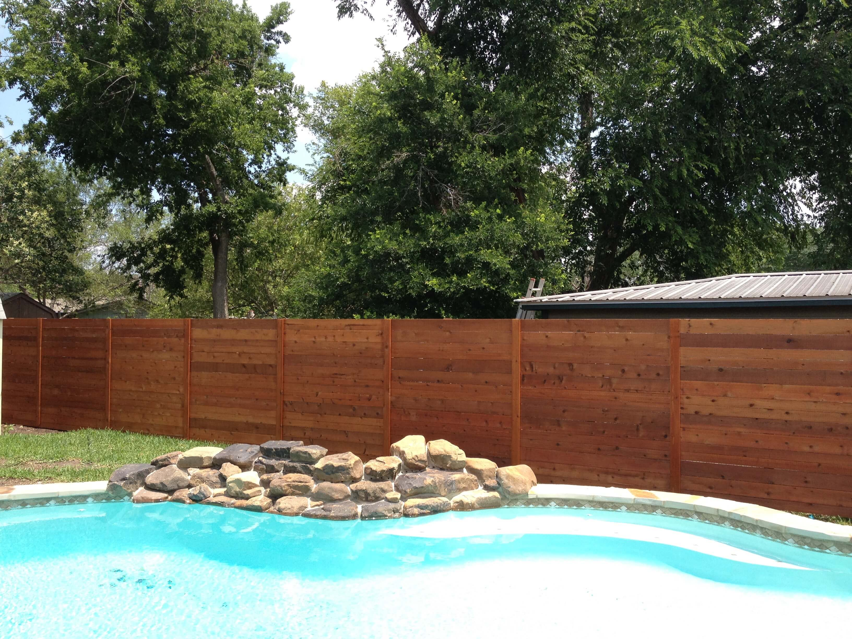 Horizontal Wood Fences - Apple Fence Austin